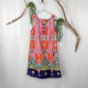 Anthro Maeve Orava shift dress pink paisley cotton